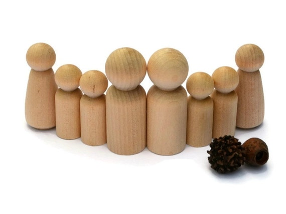 wooden peg dolls medium double family