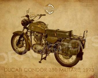 DUCATI CONDOR 350 MILITARE 1973 back, Art Print 14x10 in and more. trending home decor, trend art print