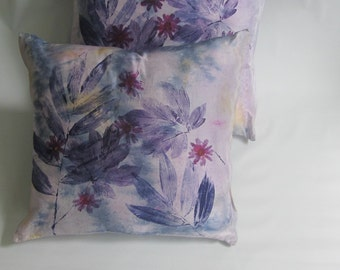 """Hand dyed and printed purple and pink silk throw pillow case/cover- """"Cosmic Flowers I"""""""