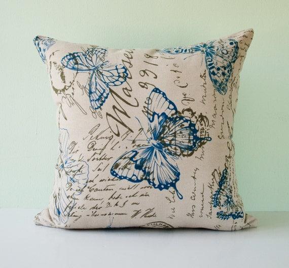 Decorative Throw Rugs: Blue Olive Beige Modern Pillow Cover Decorative Throw Pillow