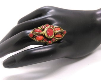 Vintage, BOHO, Rustic, Southwestern Bronze and Red Turquoise Cocktail Ring Size 7