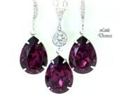 Purple Earrings Necklace Set Amethyst Jewelry Set Swarovski Crystal Bridesmaid Gift Wedding Jewelry Plum Earrings Sterling Silver AM31JS