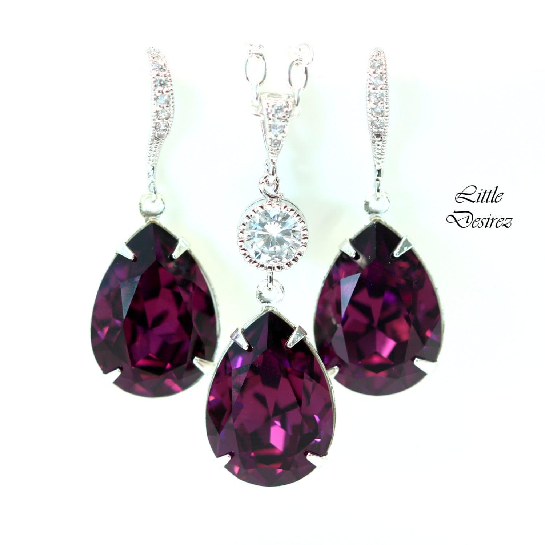 purple earrings necklace set amethyst jewelry set swarovski