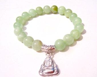 Buddha Bracelet - Bead Buddha Bracelet - Celadon Jade Bracelet - Buddha Jewelry - Yoga Bracelet