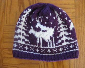 Pre-made Fornicating Deer Knit Hat - Purple and White