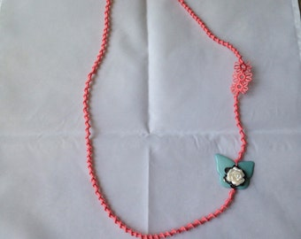 Long Tatted Butterfly Rose Necklace