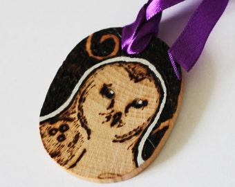 Barn Owl Gift Tag Mini Wall Hanging - Pyrography Woodburning