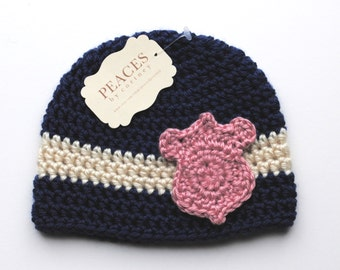 Police Baby Hat - Navy Blue Police Officer Baby Girl Hat with Pink Badge (newborn gift  preemie hat costume baby shower beanie)