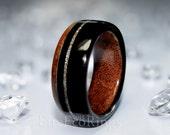 Wooden wedding ring Mahogany and Irish bog Oak