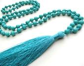 Mala Tassel Necklace Glass Bead Necklace Glass Bead Mala Prayer Beads Long Necklace Namaste Yoga Necklace Silk Tassel Necklace Mala Tassel