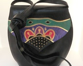 Leather Shoulder Purse - Black Leather Purse with Colorful Geometric Designs Stitched on the Front