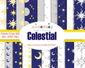 Price cut!!! New Store!! Celestial Digital Paper Patterns Sky Moon Face SUN Face STARS Space blue silver gold white Night Day
