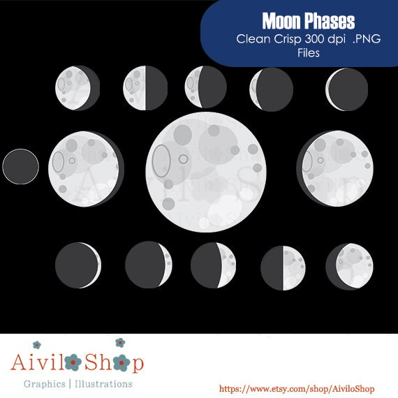 New Store MOON PHASE CLIPART Sky Moon Space Universe