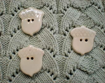 Acorn Buttons - hand made pottery buttons - set of 3 - White