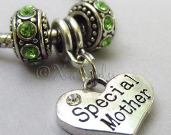 Special Mother European Charm Pendant And Rhinestone Birthstone Beads For Large Hole Charm Bracelets - Gift Idea For Moms