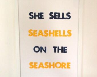 Summer Sale! She Sells Seashells on the Seashore Letterpress Print