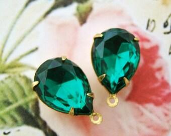 Emerald Green 15x11mm Teardrop Glass Stones Rhinestone Brass Drop Settings - 2