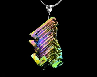 "Bismuth Necklace, ""Right Handed"", Bismuth Crystal Jewelry, Sterling Silver Bail, Pendant on Leather or Snake Chain"