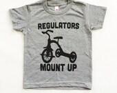 Funny Baby Onesies. Kids tshirt. Baby Boy clothes. Regulators Mount Up Grey Tri blend toddler shirt. American apparel kids tee.