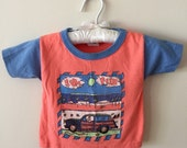 90s Radical Rags Coral Blue Woodie Car Surfer T-Shirt, Size 18 Months