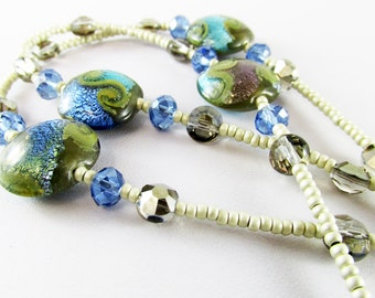 Beaded Lanyard 15mm Disc Foil blue pink Beads LQEXPRESSIONS