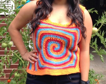 Made to Order Colorful Spiral Hand Crocheted Tank in Cotton