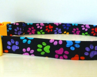 "FREE SHIPPING - Dog Collar - Paw Print Dog Collar - Rainbow Colored Paw Prints - ""Happy Feet"""