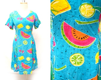 90s Fruit Sundress Cute Summer Watermelon Strawberry Womens Small