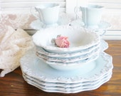 Vintage Dinnerware Set Vintage 16 Piece Tea Party Wedding China Bridal Shower Gift For Her Cottage Chic Ceramic China