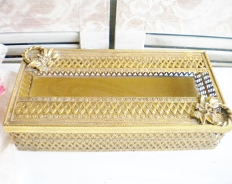 Brass Tissue Holder With Lid/ Vintage Ornate Tissue Box /For Vanity/ Bathroom /Home Decor/ Wedding Card Holder/ Gold