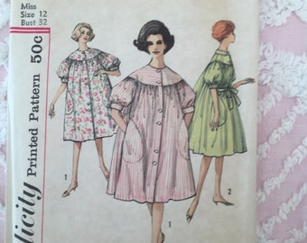 "vintage sewing pattern simplicity 4196 bust 32"" bubble duster dress"