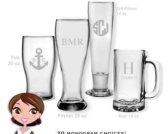 Set of Monogrammed Beer Glasses, Personalized Glassware, Custom Drinkware, Monogram Beer Glasses, Monogram Barware, Pub Wedding Gift