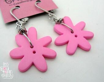 Earrings - flower's button - pink
