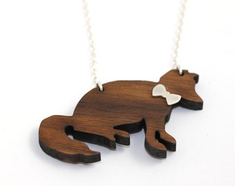 Party Animals - a foxy gent - wooden fox necklace with sterling silver bow tie and chain