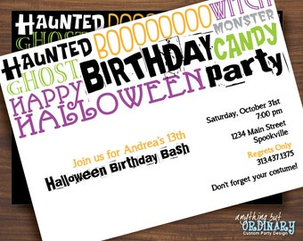 Haunted Birthday Party Invite, Halloween Birthday Invitation, printable digital file