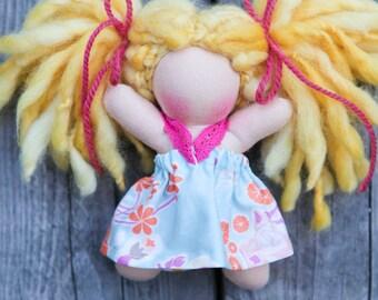 "SALE 20% OFF. Daisy, A 5"" Pocket Kid Waldorf Doll by Wild Ginger Dolls, Wool"