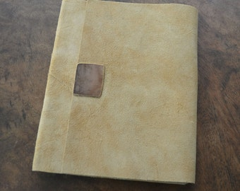 Leather Notebook Journal Lined THIN LINE Buckskin Day Planner (518)