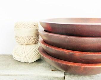 Vintage Wood Bowls - Set of 4 - Retro Kitchen - Wooden Salad Bowls