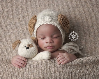 Newborn Puppy Bonnet and Buddy Photography Prop, MADE TO ORDER