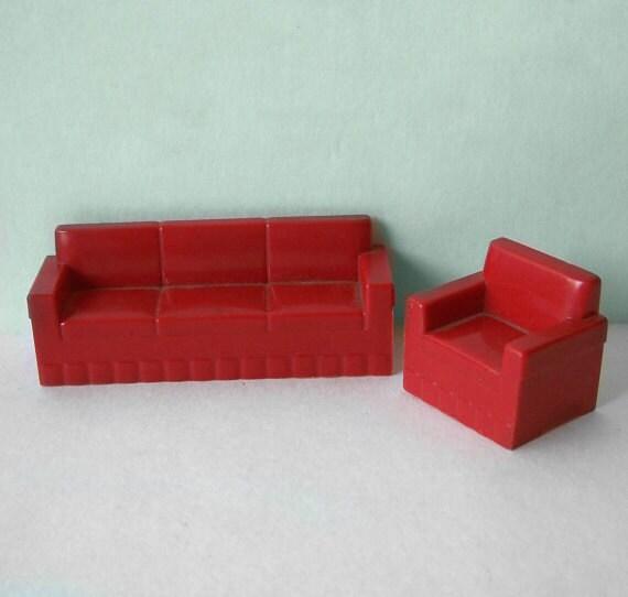 Items Similar To Large Quantity Vintage Dollhouse Furniture Hard Plastic Assorted Marx Blue Box