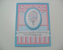 CLEARANCE - Handmade Birthday Card - Cotton Candy Card - BLANK Inside
