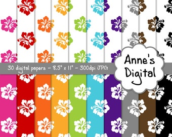 "Hibiscus Digital Papers - Matching Solids Included - 30 Papers - 8.5"" x 11"" - Instant Download - Commercial Use (243)"