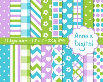 "Lime Green, Purple, and Aqua Digital Papers - Matching Solids Included - 25 Papers - 8.5"" x 11"" - Instant Download - Commercial Use (014)"