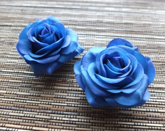 A pair of Royal Blue Roses Hair clips, Wedding Accessories, Wedding Hair Flowers