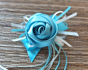 Light Blue Boutonniere, Light Blue Satin Rose Boutonniere,  Light Blue Ribbon Rose Boutonniere
