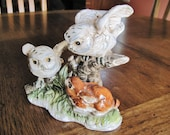 Pair Baby Snow Owls with Baby Rabbit Porcelain Figurine
