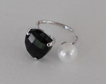 The Talia Ring - Black/Silver