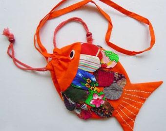 New Handmade Fish Patchwork Shoulder Bag Purse 100% Cotton Orange