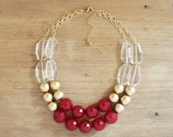 Gold and Cranberry Red Statement Necklace, Chunky Red Bib Necklace, Red Beaded Necklace