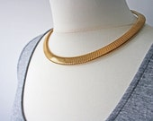 Vintage Gold Snake Chain Necklace, 80s Choker
